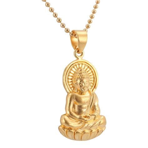 buddha necklace detailed sitting buddha pendant in 24k gold plated