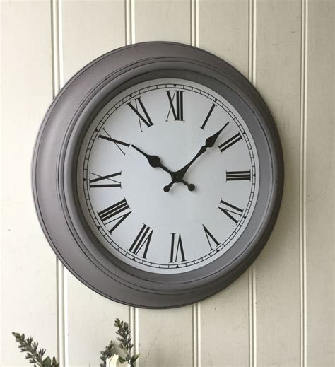 shabby chic large wall clocks shabby chic large grey wall clock amazing grace