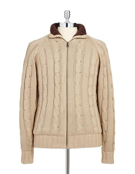 zip up cable knit sweater weatherproof zip up cable knit sweater in beige for lyst