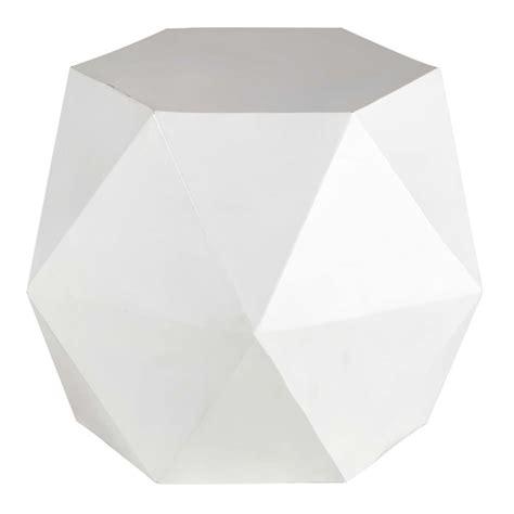 bout de canap 233 en m 233 tal blanc l 58 cm hexago maisons du monde