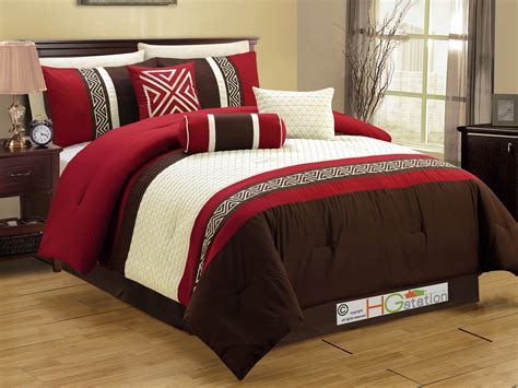 key comforter set 7 pc embroidery quilted triangle meander key