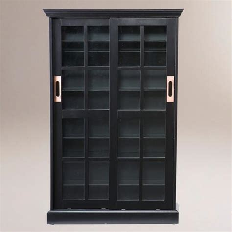 bookcase with sliding doors black sliding door bookcase and media cabinet world market