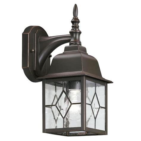 lowes outdoor lighting fixtures portfolio rubbed bronze outdoor wall light lowe s canada