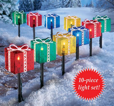 outdoor present decorations presents gift box outdoor pathway light set