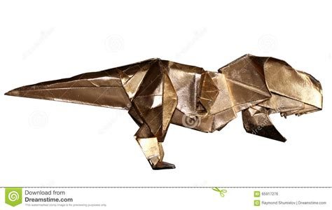 origami tyrannosaurus origami dinosaur t rex isolated on white stock photo