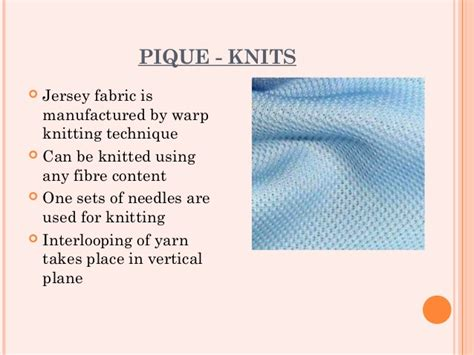 characteristics of knitted fabrics fabric study