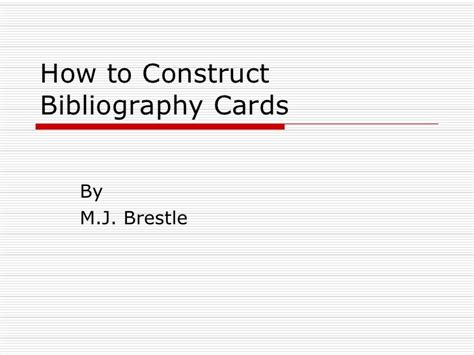 how to make a source card mla bibliography cards