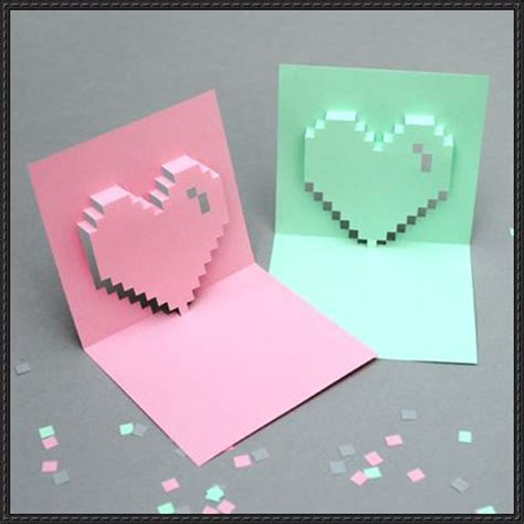 card paper craft s day pixel pop up card papercraft