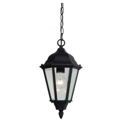 home depot hanging light fixtures sea gull lighting bakersville 1 light black outdoor
