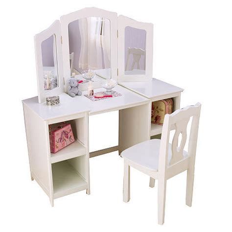 kid craft vanity kidkraft deluxe vanity and chair white from fao