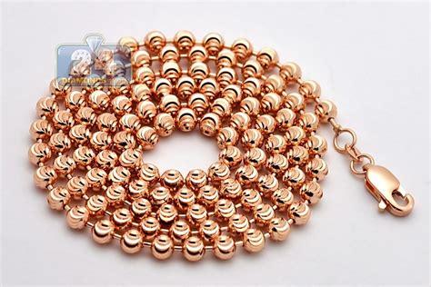 bead chains 14k gold army moon cut mens bead chain 4 mm