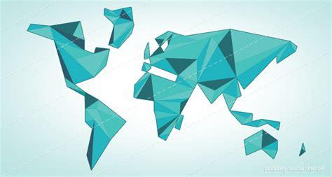 Blue World Map Origami Vector Designers Revolution