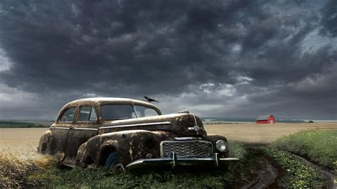 Classic Car Wallpapers 1600 X 900 Hd Desktop by Abandoned Classic Car In A Field Hd Desktop