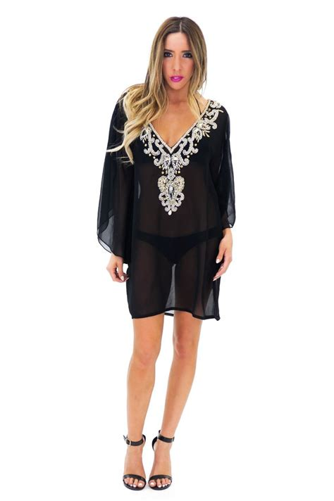 beaded cover up hanai beaded tunic cover up haute rebellious