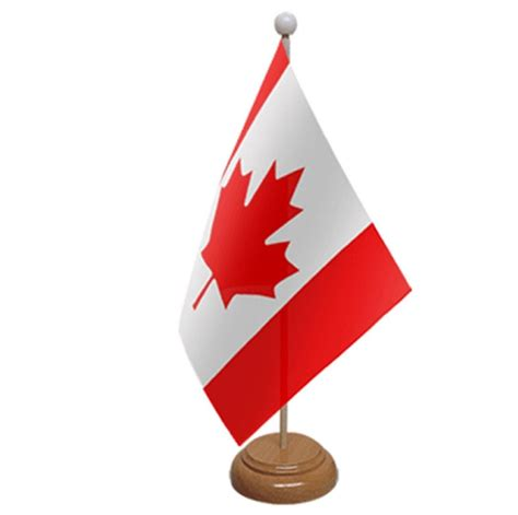 wooden canada canada table flag with wooden base