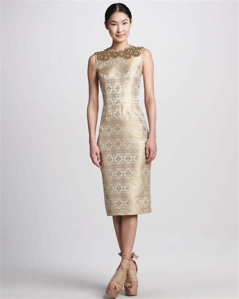 metallic beaded dress vera wang beaded metallic jacquard sheath dress in