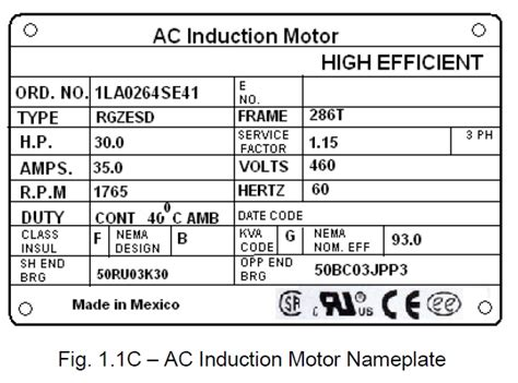 Electric Motor Information by Power Systems Loss Electric Motor Nameplate Specifications