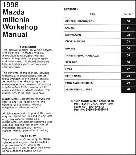 service manual free repair manual 1998 mazda millenia service manual 1998 mazda millenia