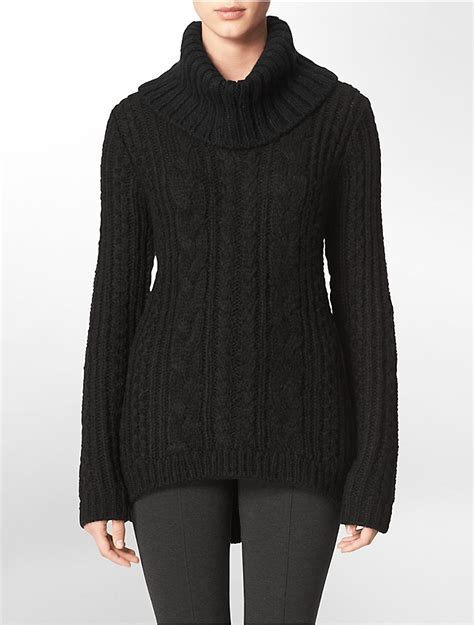 cable knit turtleneck sweater calvin klein womens cable knit turtleneck sweater ebay
