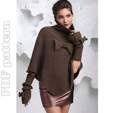 knitted poncho patterns poncho and fingerless gloves knitting pattern pdf