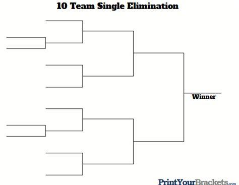 10 team single elimination printable tournament bracket