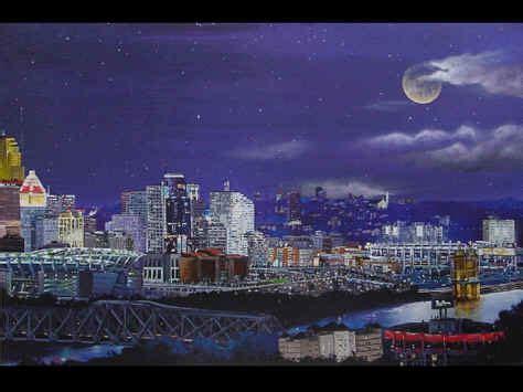 paint nite cincinnati cincinnati aerial skyline painting poster