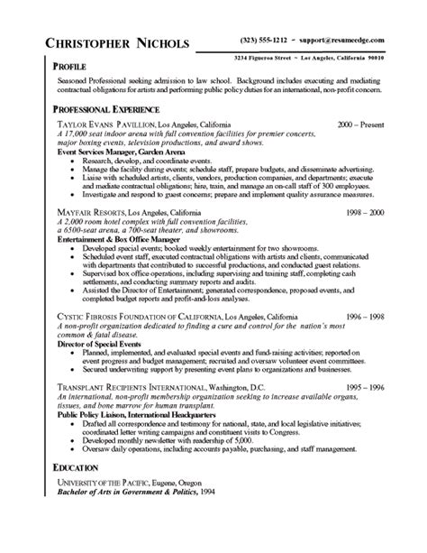 law admissions resume free sample resumes