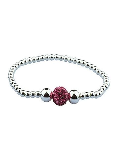 bead stretch bracelet silver stretch bracelet with pink bead laurie