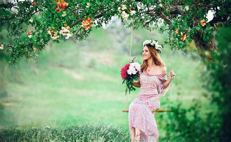 view brown hair dress sundress tree swing green