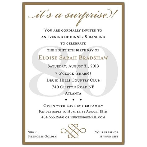classic 80th birthday gold surprise party invitations