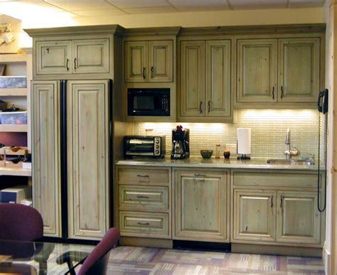 green kitchen furniture green stained pine cabinets cabin ideas