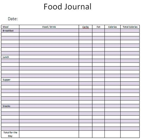 free food diary template
