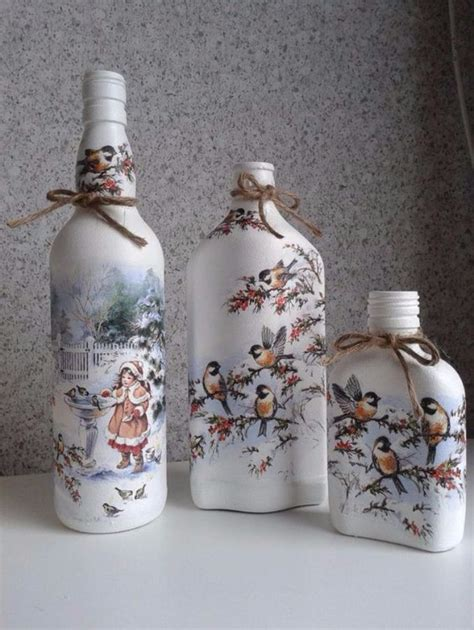 decoupage on glass bottles how to decorate glass bottles with decoupage diy recycle