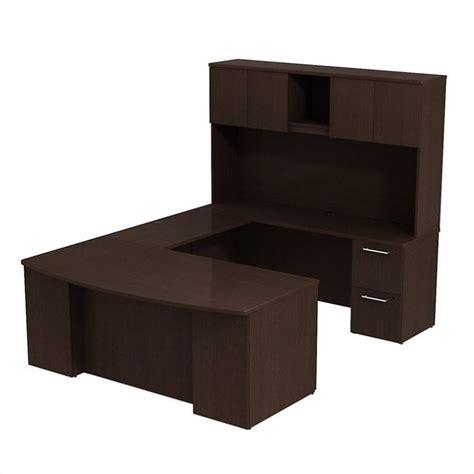 u shaped desk with hutch bush bbf 300 series 72 quot u shaped desk with hutch in mocha