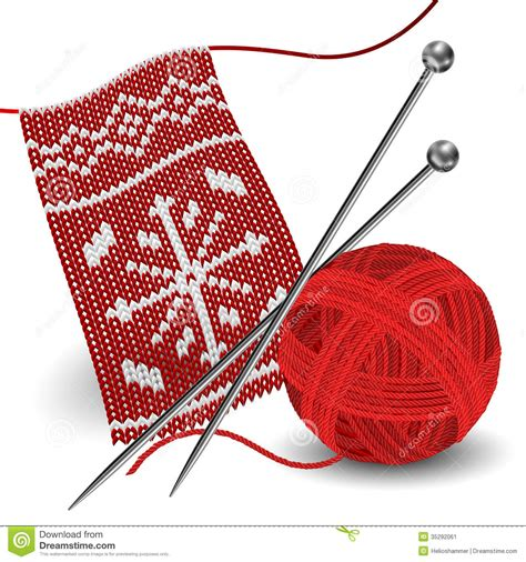 knitting needle pattern free knitting with needle and yarn stock vector image