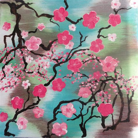 acrylic painting cherry blossom cherry blossom abstract 12 quot x12 quot acrylic home decor wall