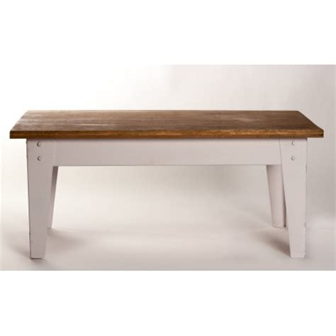 wood top coffee table with distressed white metal base