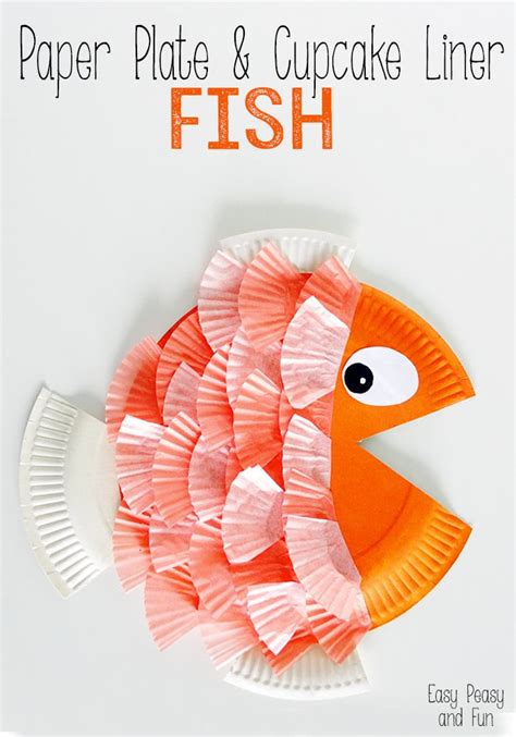 fish paper plate craft paper plate cupcake liner fish easy peasy and