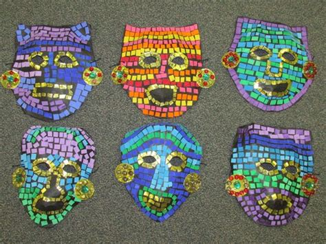 3rd Grade Paper Mache Mosaic Ancient Mayan Mask Lesson By