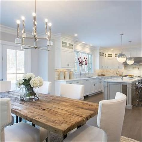 white table kitchen reclaimed wood top dining table transitional kitchen