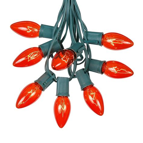 string lights with bulbs orange c9 outdoor string light set on green wire novelty