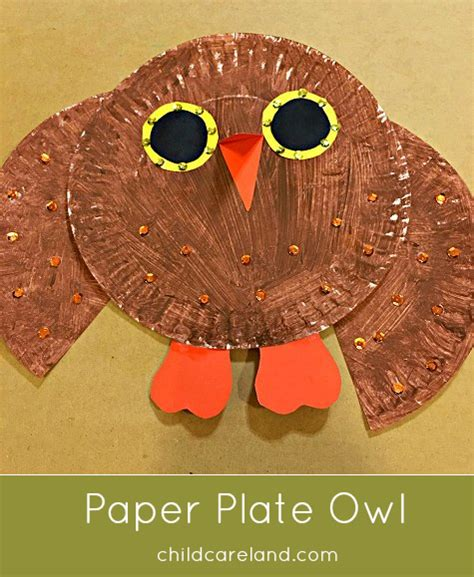 paper plate owl craft category fall childcareland