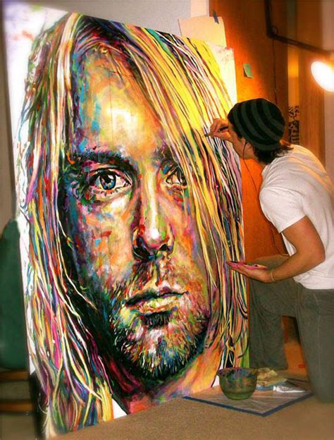 amazing painting a painting of kurt cobain