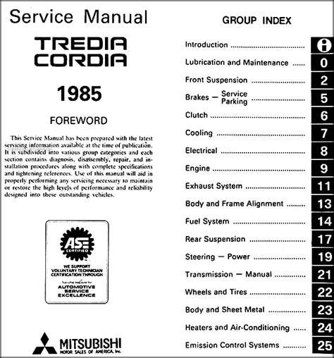 service manual automotive repair manual 1988 mitsubishi cordia instrument cluster service 1985 mitsubishi cordia and tredia repair shop manual original