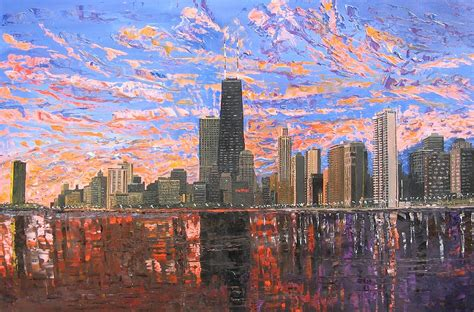 chicago skyline lake michigan painting by mike rabe