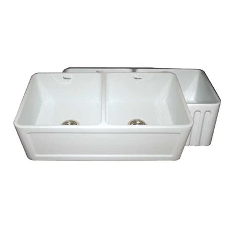 apron front kitchen sink white whitehaus collection reversible concave farmhaus series