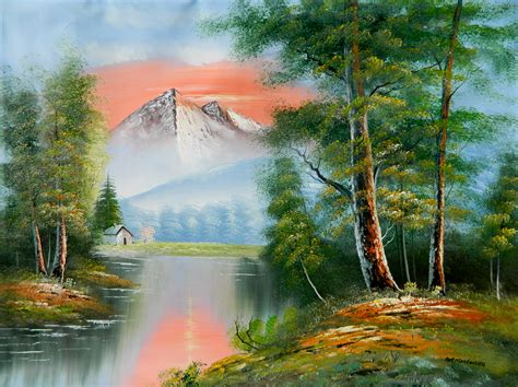 real bob ross paintings for sale for sale scenic mountain afterglow artsyhome