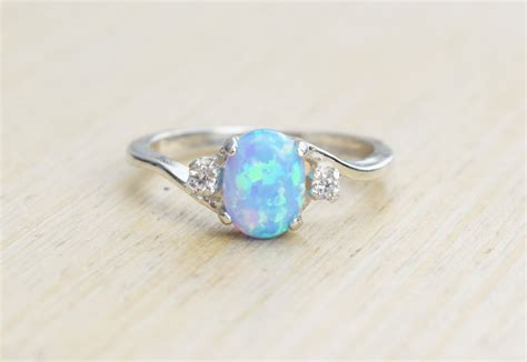 Opel Rings by Silver Lab Opal Ring Blue Opal Ring Light Blue Opal Ring