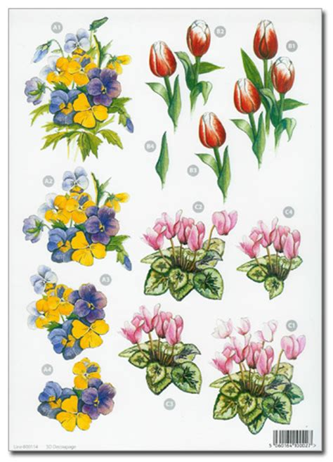 flower decoupage die cut 3d decoupage a4 sheet floral designs 114 163 1