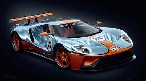 Car Wallpaper 2017 Team Blue by Ford Gt Racer Rendered With Iconic Gulf Livery Carscoops
